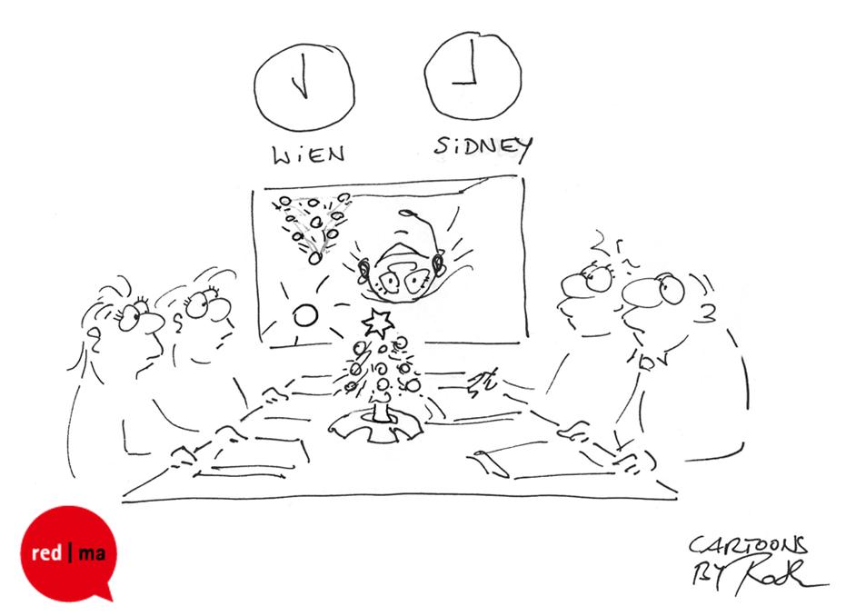 Cartoon Online-Meetings zu Weihnachten